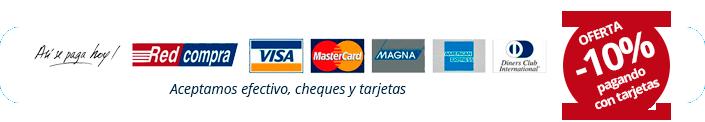 Aceptamos tarjetas, efectivo y cheques
